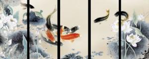 1533-Feng-Shui-Fish-Painting-Koi-Art-Koi-Fish-Painting-Modern-Wall-Art